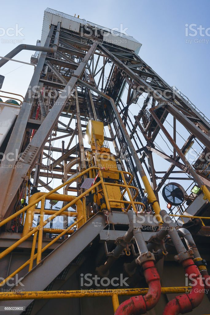 Derrick of jack up oil and gas rig stock photo