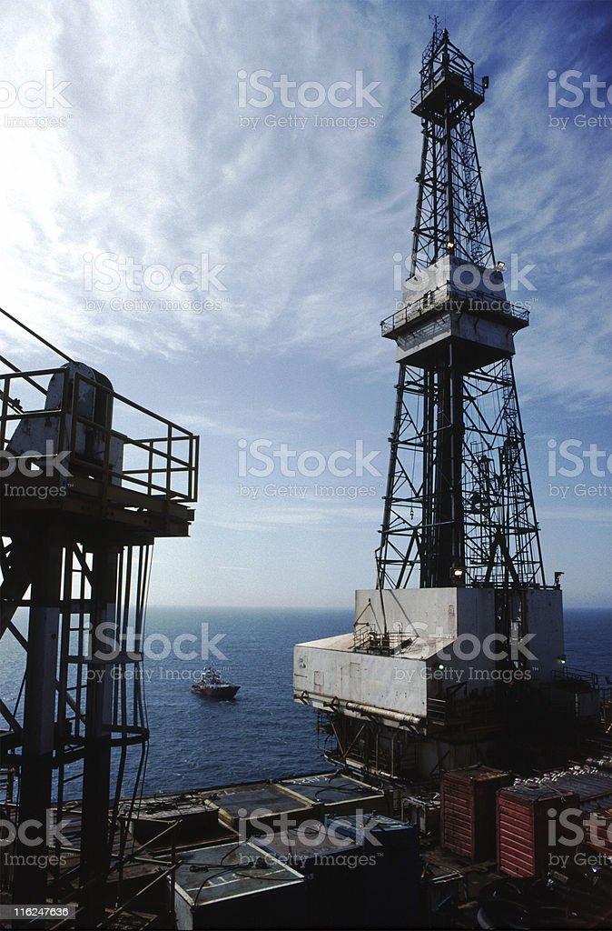 Derrick on a North Sea platform royalty-free stock photo
