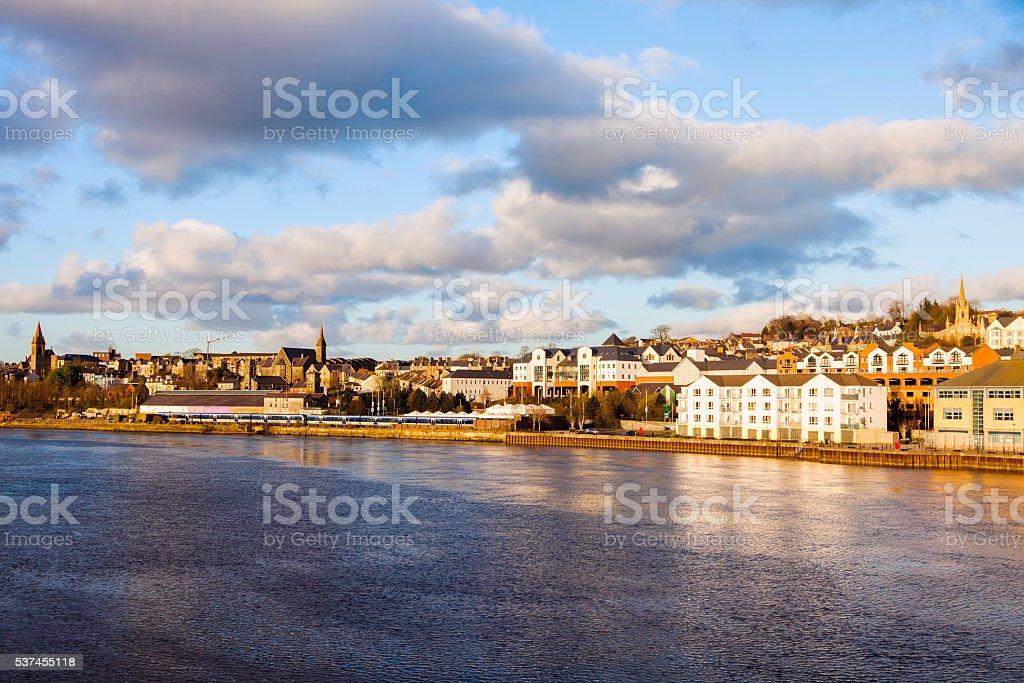 Derry panorama from Craigavon Bridge stock photo