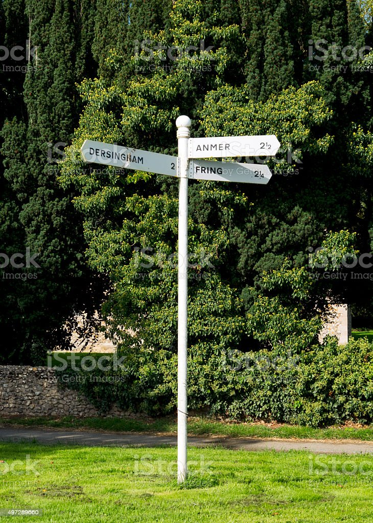 Dersingham, Anmer and Fring - signpost stock photo