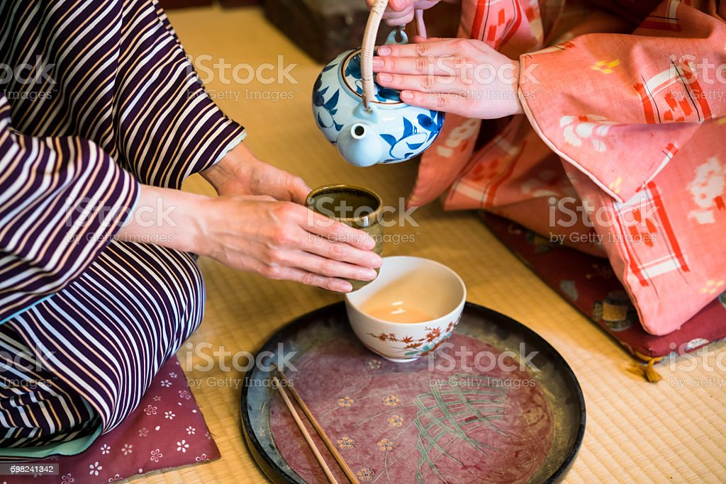 Dertail of having traditional Japanese tea in Kyoto Japan stock photo