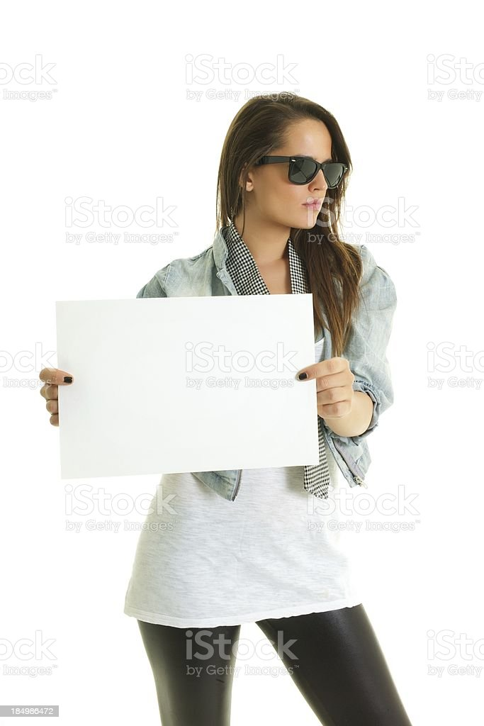 dertmined girl shows posters stock photo