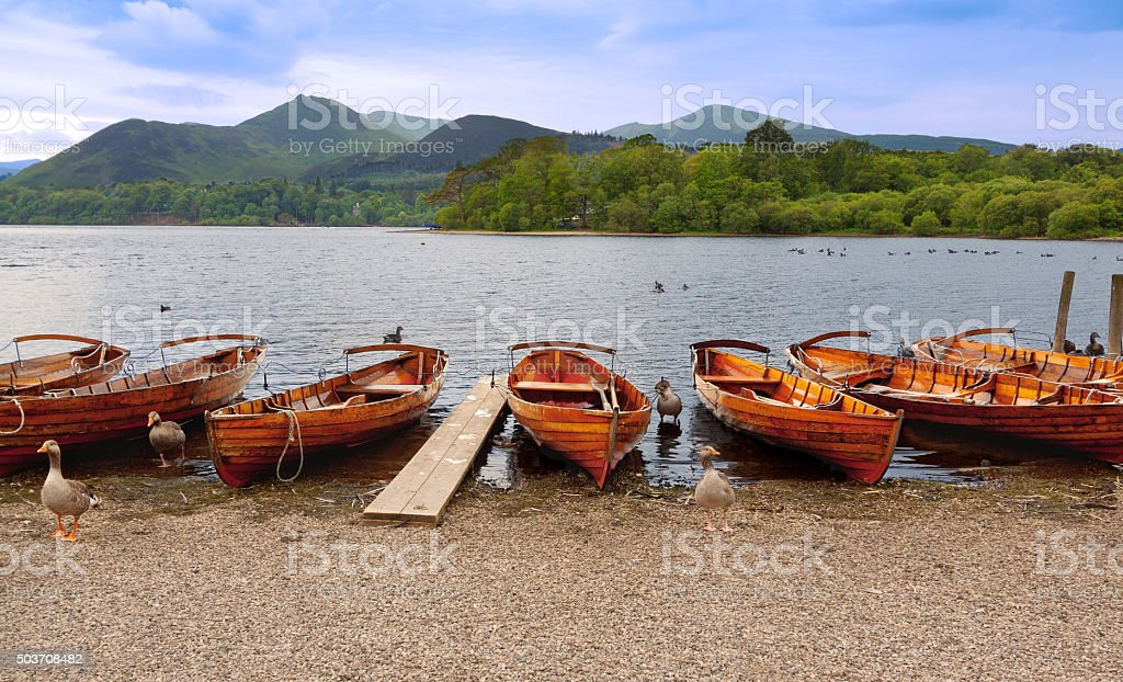 Derwent Water and Row Boats, Keswick, Lake District, England. stock photo