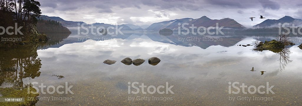 Derwent Water dawn Cat Bells panorama Lake District Cumbria UK royalty-free stock photo