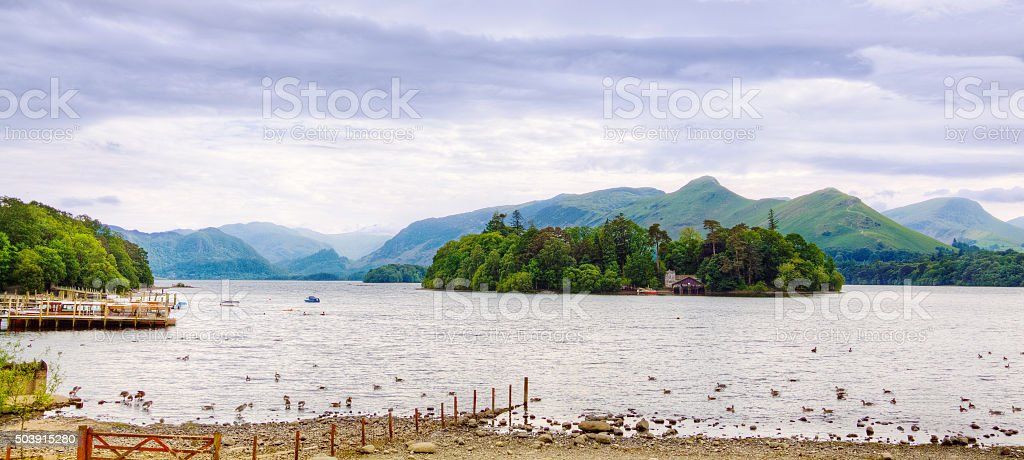 Derwent Water, Ducks and Mountains, Keswick, Lake District, England. stock photo