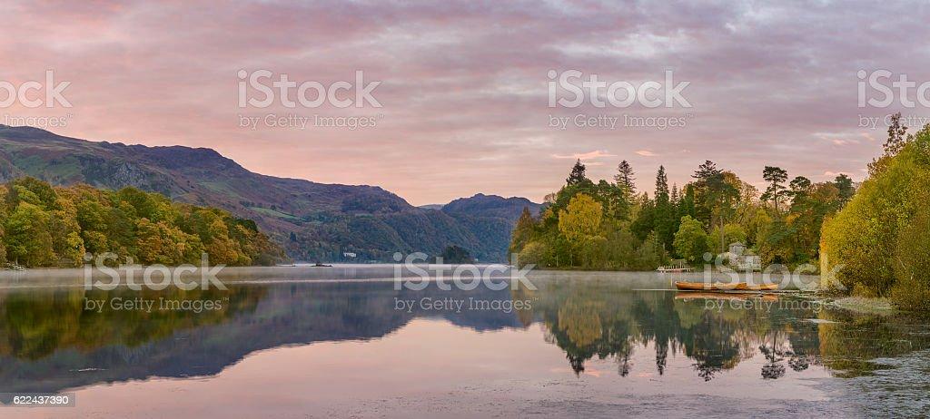 Derwentwater Autumn sunrise, Lake District, UK. stock photo
