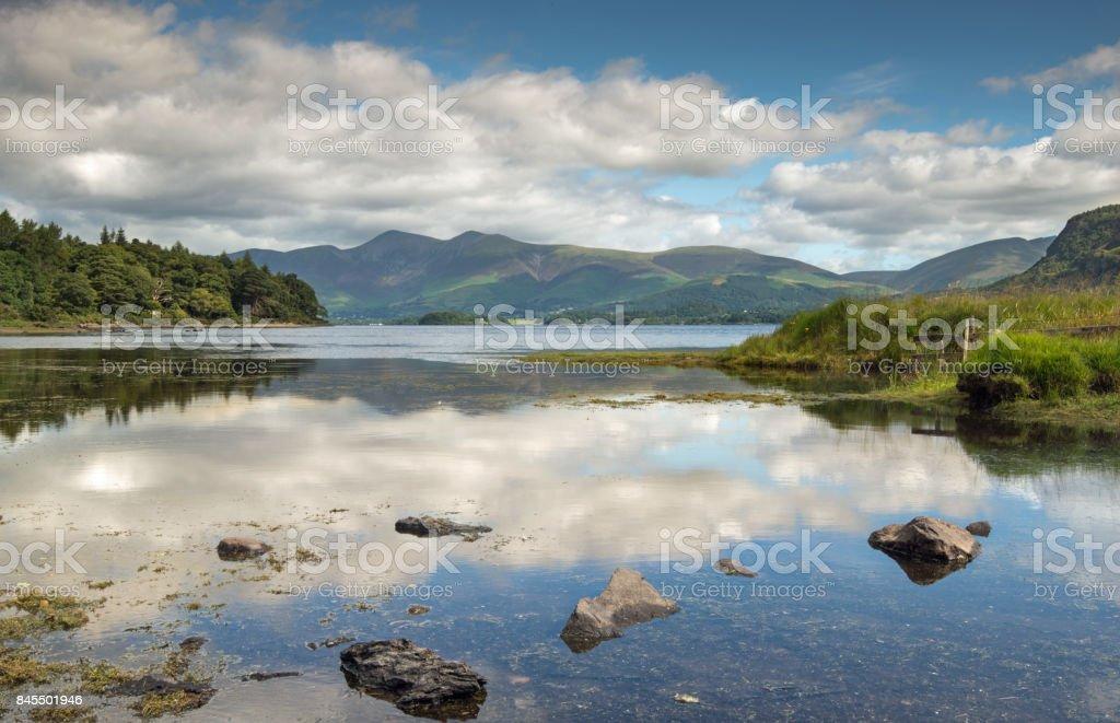 Derwentwater in the English Lake District looking towards Keswick stock photo