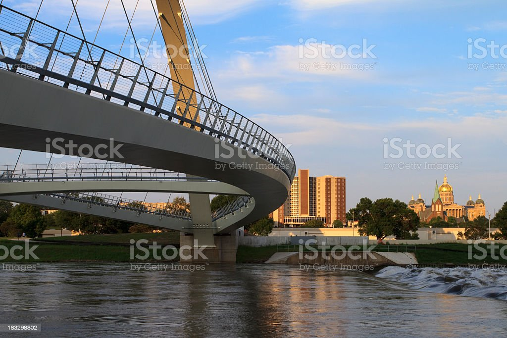 Des Moines Bridge photograph including building stock photo