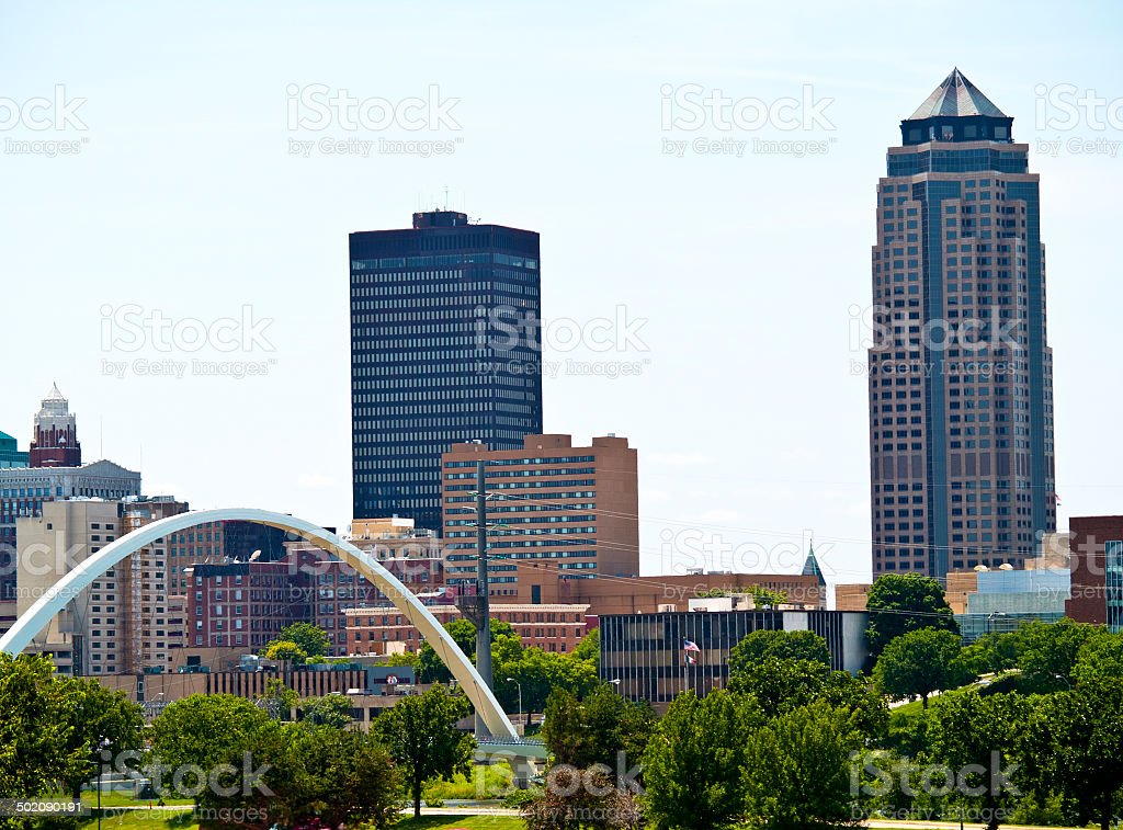 Des Moines City Skyline, Iowa stock photo