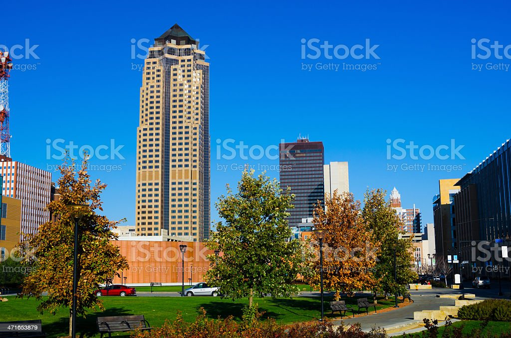 Des Moines Downtown buildings and park stock photo