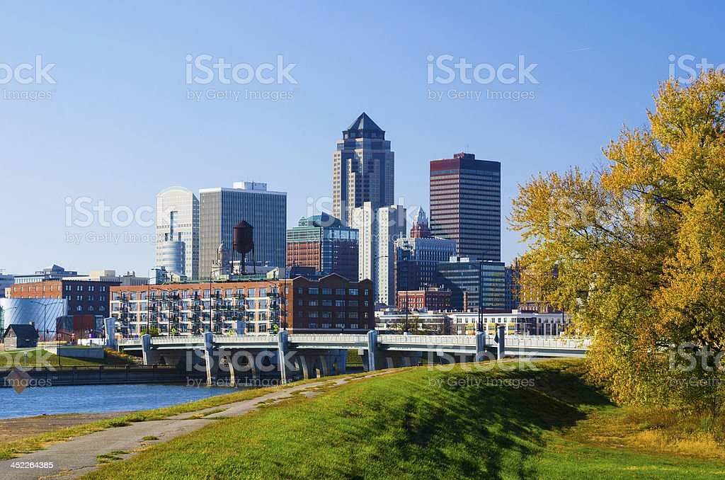 Des Moines Downtown Skyline stock photo