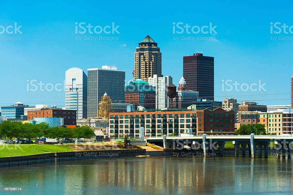 Des Moines downtown skyline with the Des Moines River stock photo