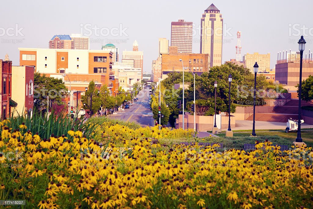Des Moines, Iowa in the morning stock photo
