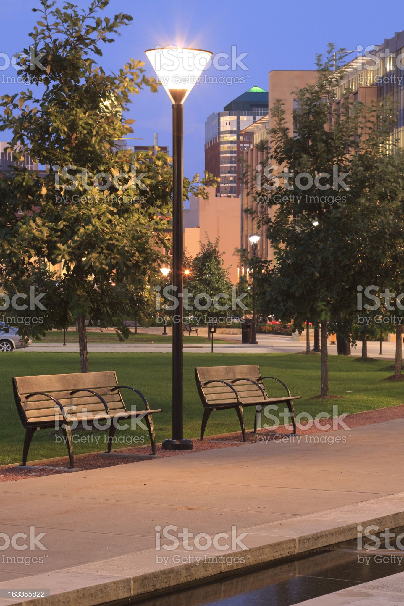 Des Moines lighted royalty-free stock photo