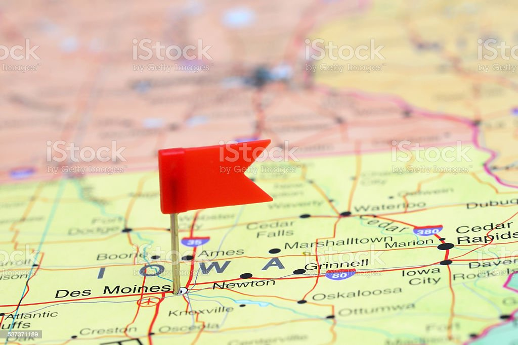Des Moines pinned on a map of USA stock photo