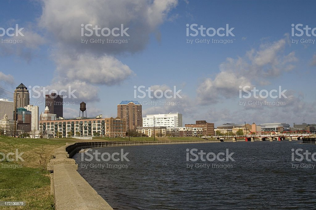 des moines riverfront royalty-free stock photo