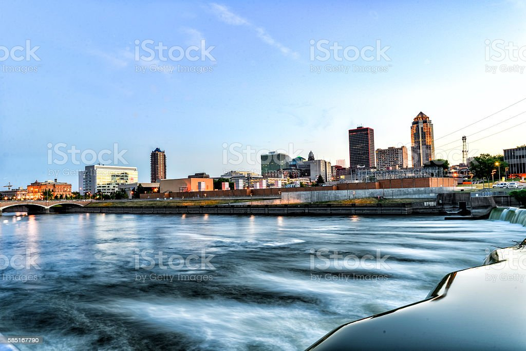 Des Moines Skyline and Riverfront near downtown stock photo