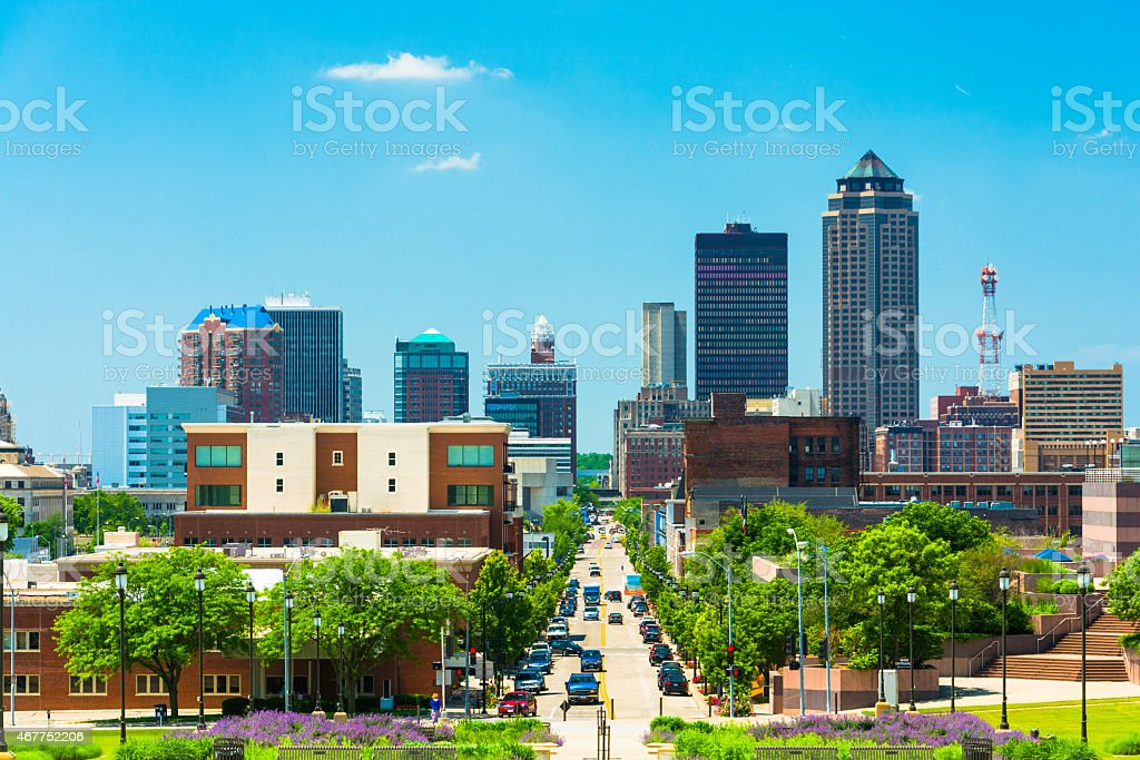 Des Moines skyline view stock photo
