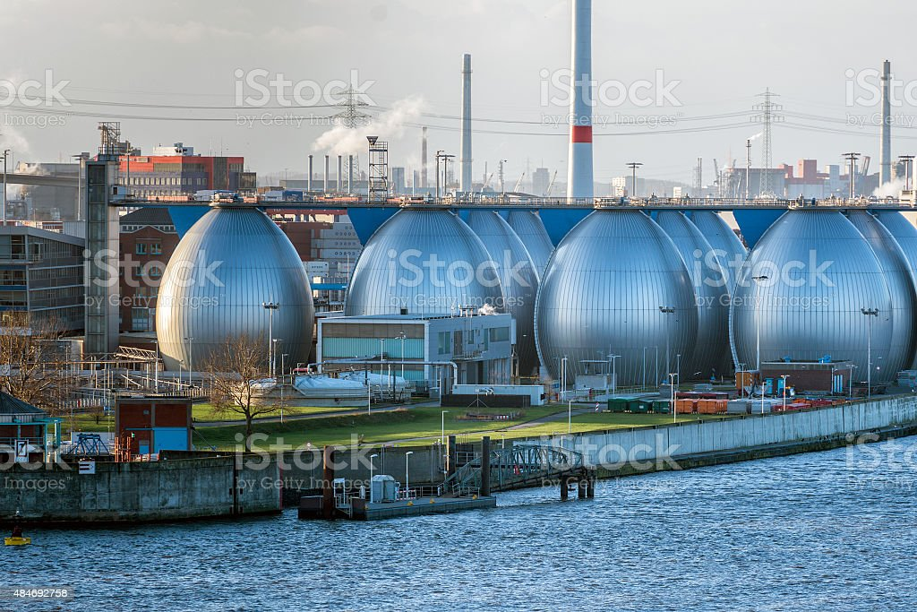 Desalination plant in hamburg port stock photo