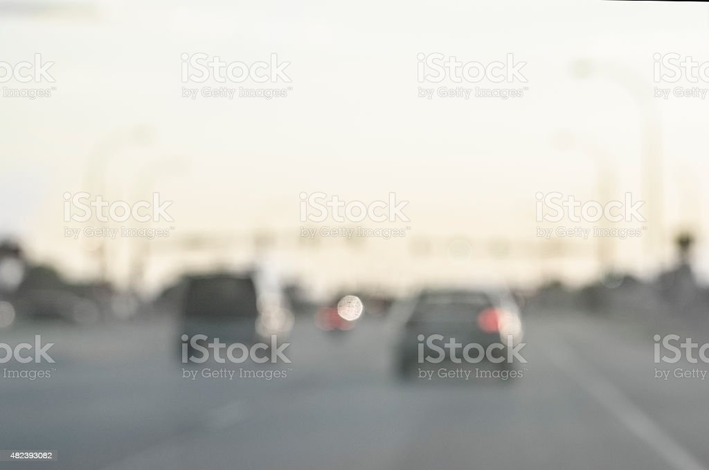 Desaturated and Defocused Highway at Evening stock photo