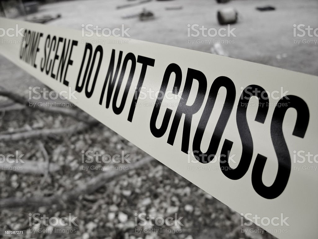 Desaturated Crime Scene Tape royalty-free stock photo
