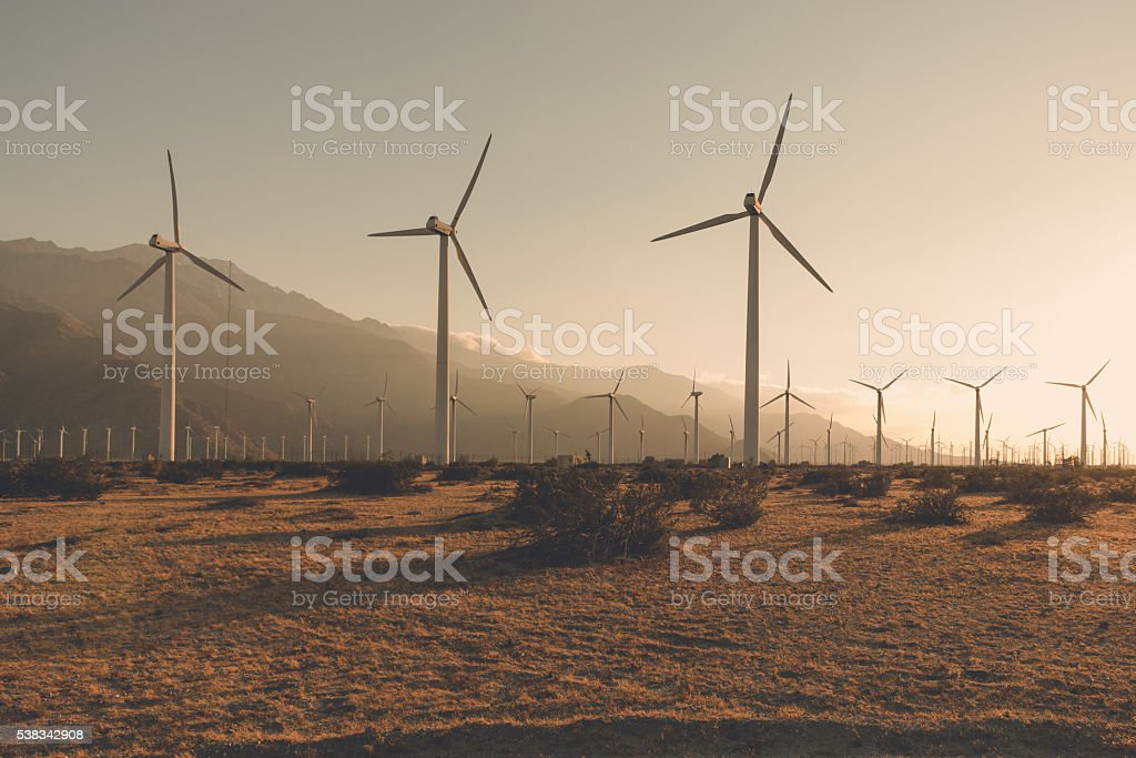 Desaturated Wind Turbines stock photo