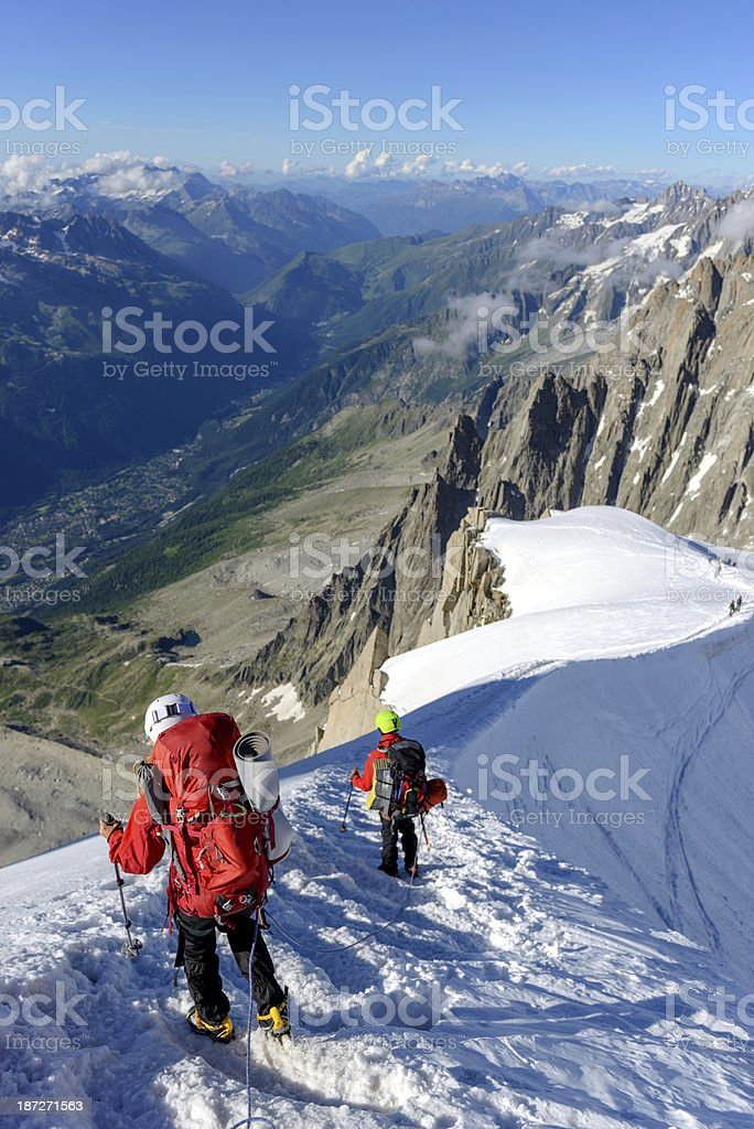 descending from Aiguille du Midi royalty-free stock photo