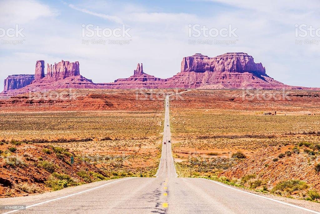 descending into Monument Valley at Utah  Arizona border stock photo