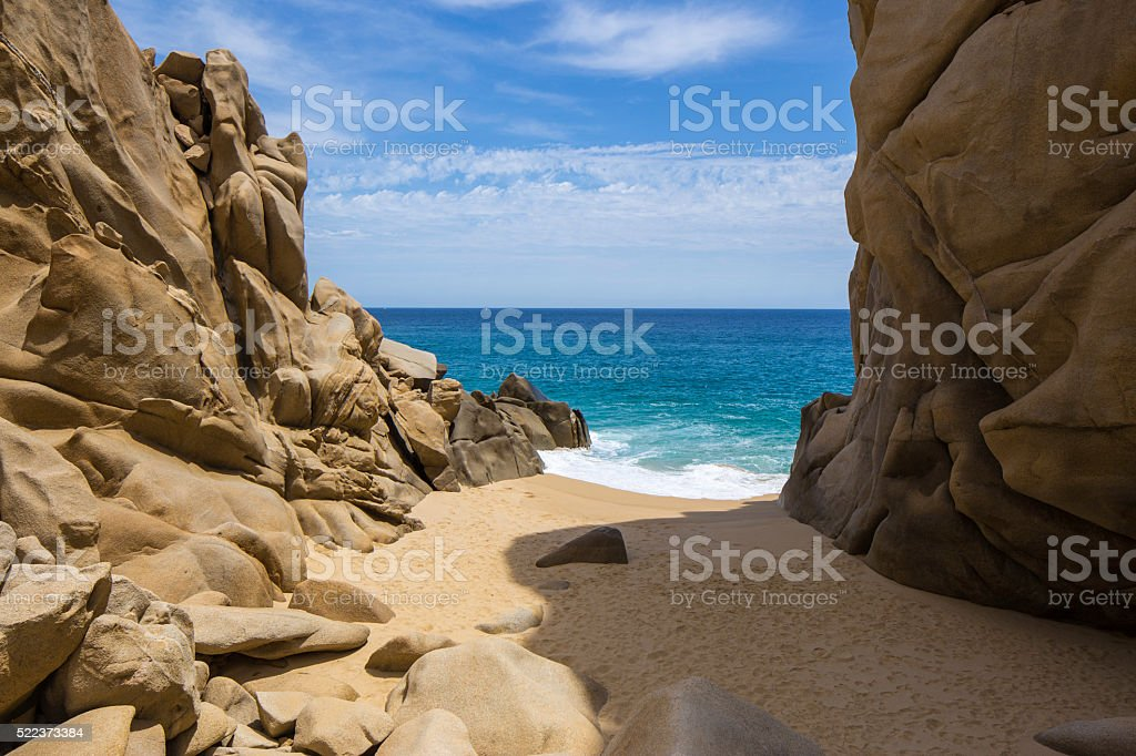 Descending on Hidden Beach at Cabo San Lucas stock photo