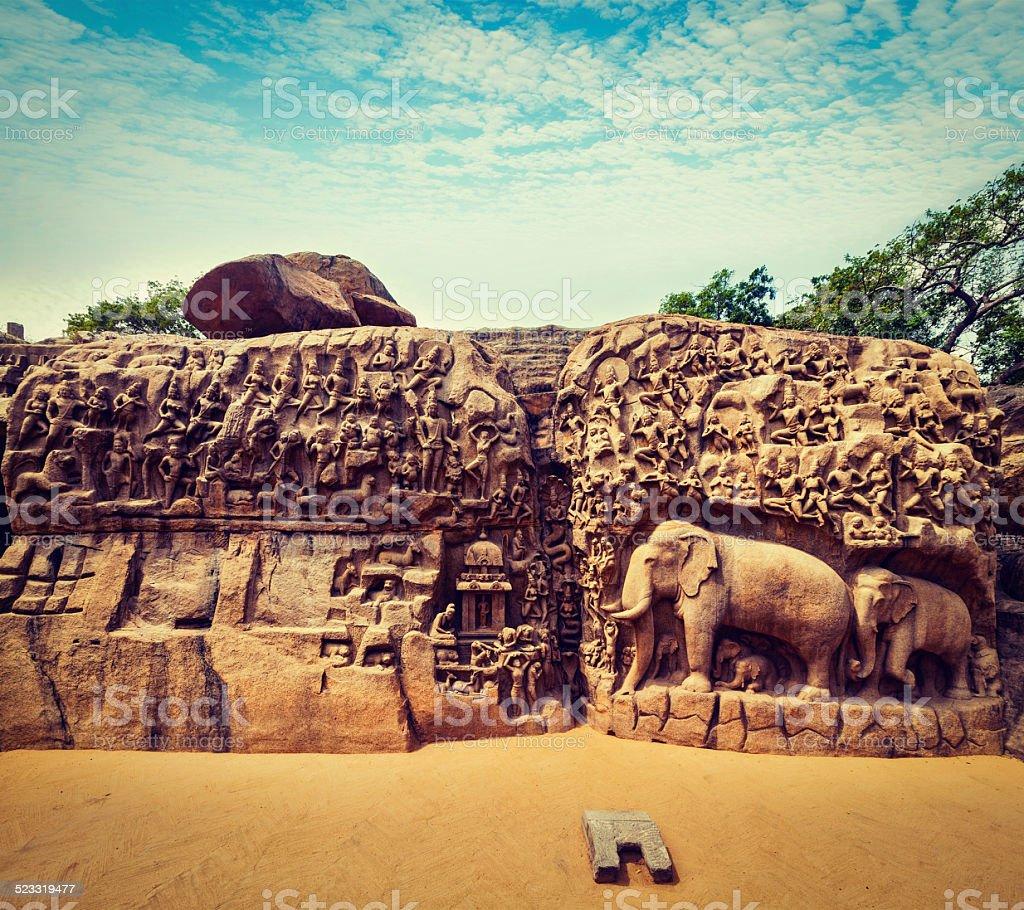 Descent of the Ganges and Arjuna's Penance, Mahabalipuram stock photo