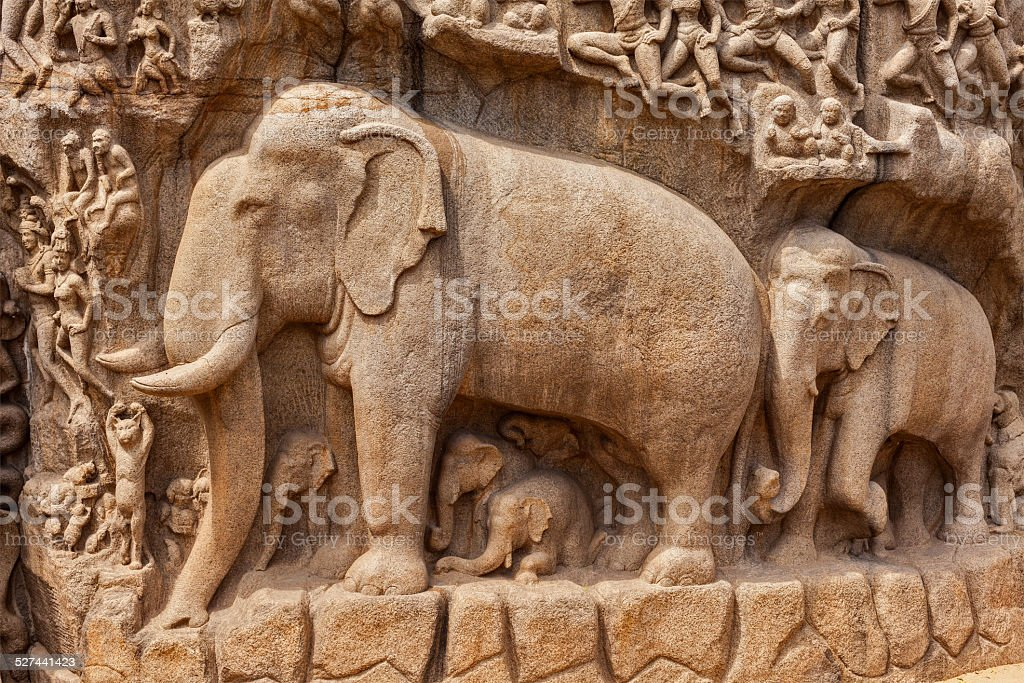 Descent of the Ganges and Arjuna's Penance, Mahabalipuram, Tamil stock photo