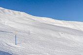 Descent. Ski resort. Swiss Alps