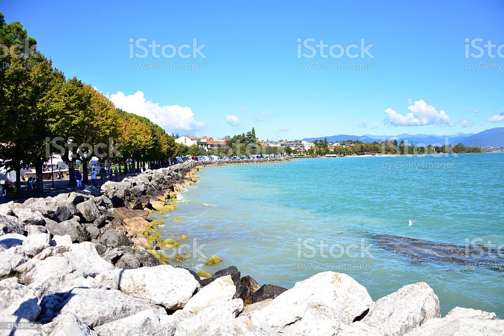 Desenzano Garda Lake coastline stock photo