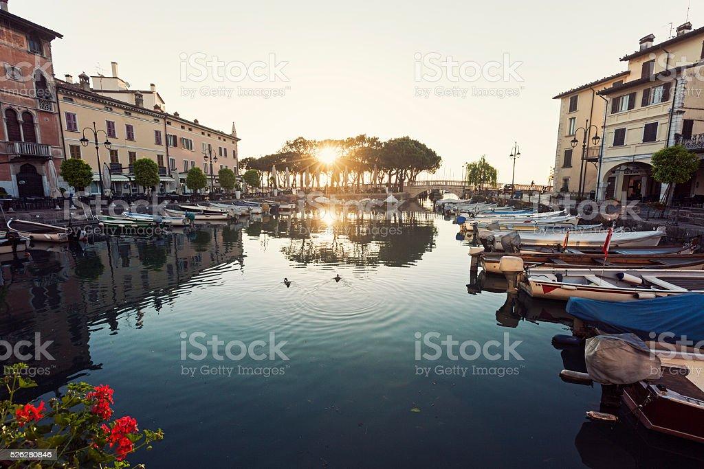 Desenzano Harbor in Desenzano del Garda stock photo