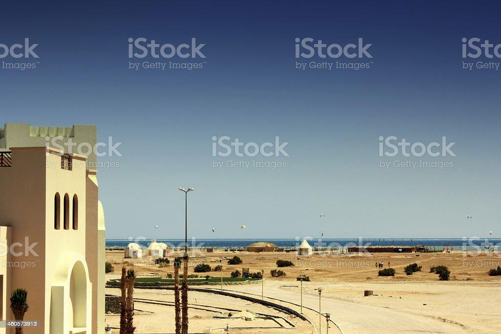 Deserto e Praia em El Gouna, Egipto foto de stock royalty-free