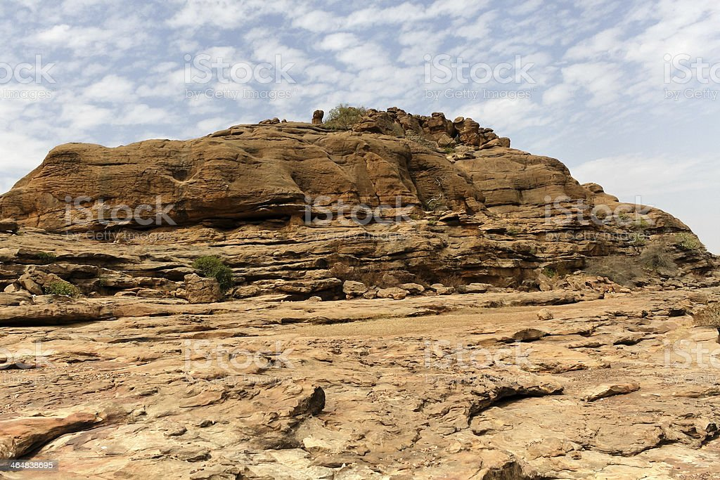 Desert and cliff in Bandiagara Escarpment, Mali, Africa stock photo