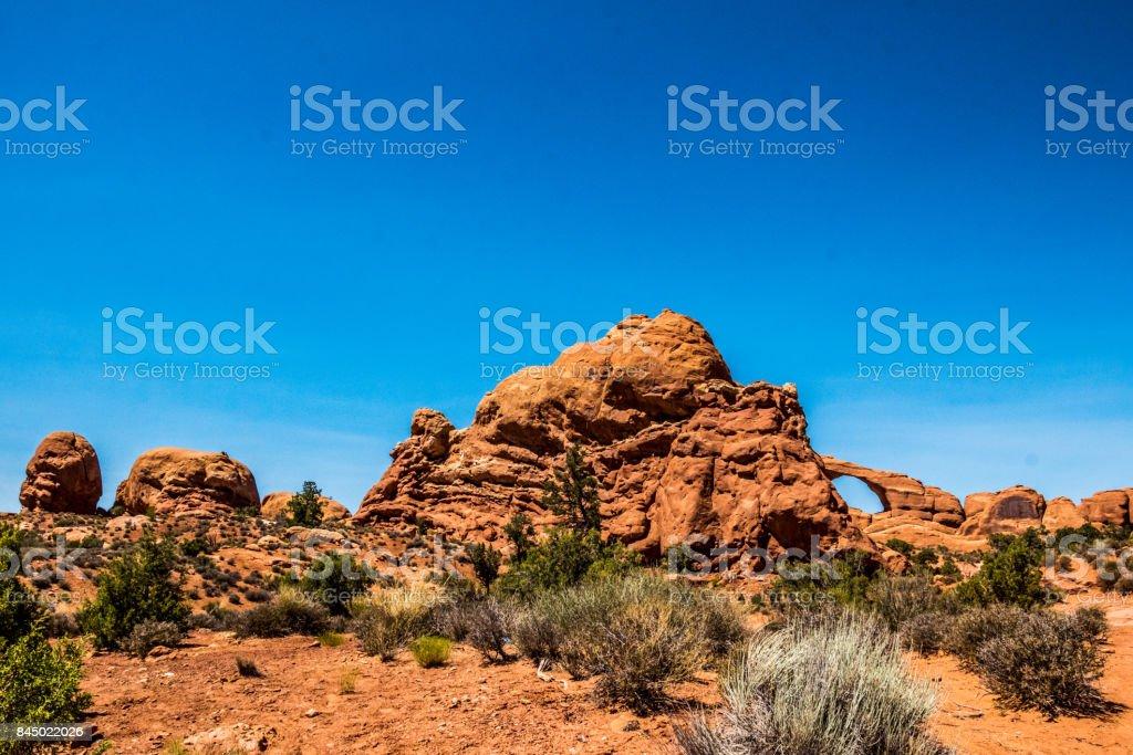 Desert and stone arches. Landscape of desert Moab, Utah stock photo