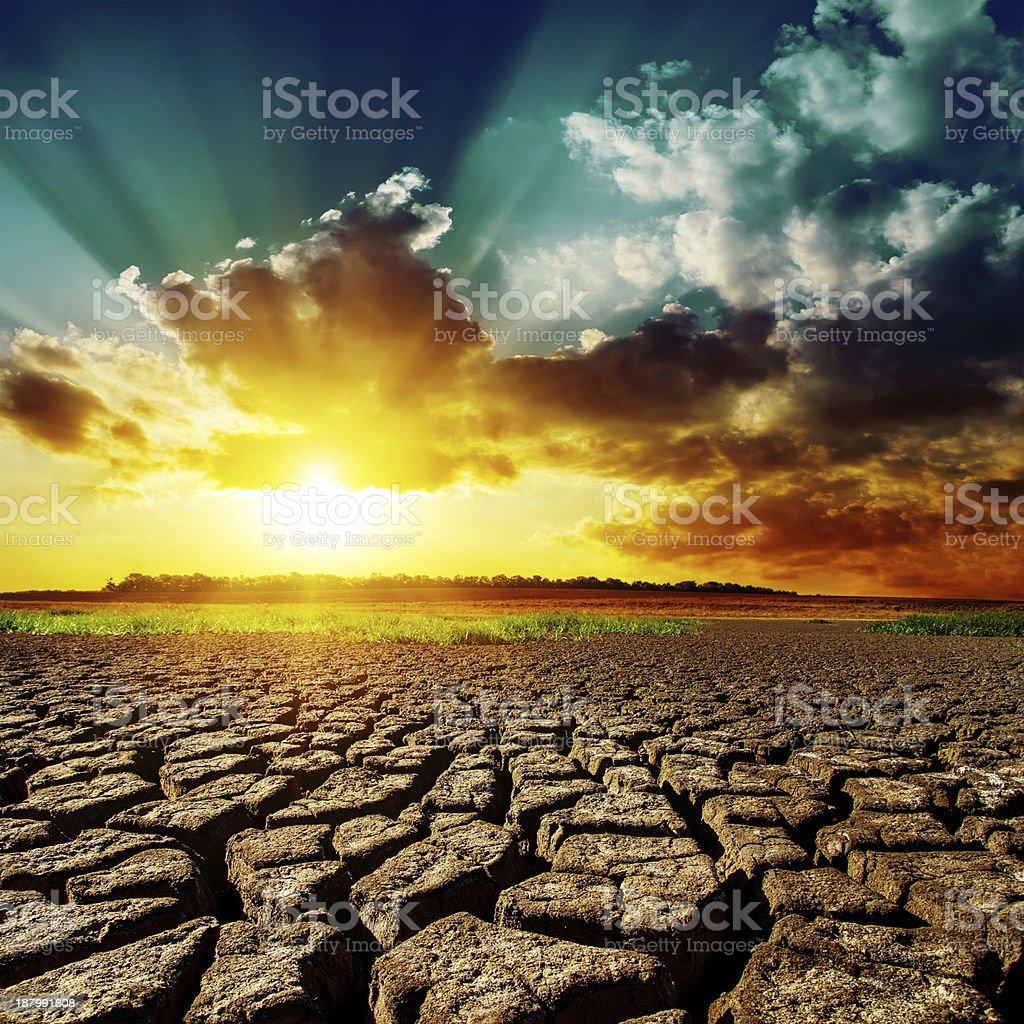 desert and sunset stock photo
