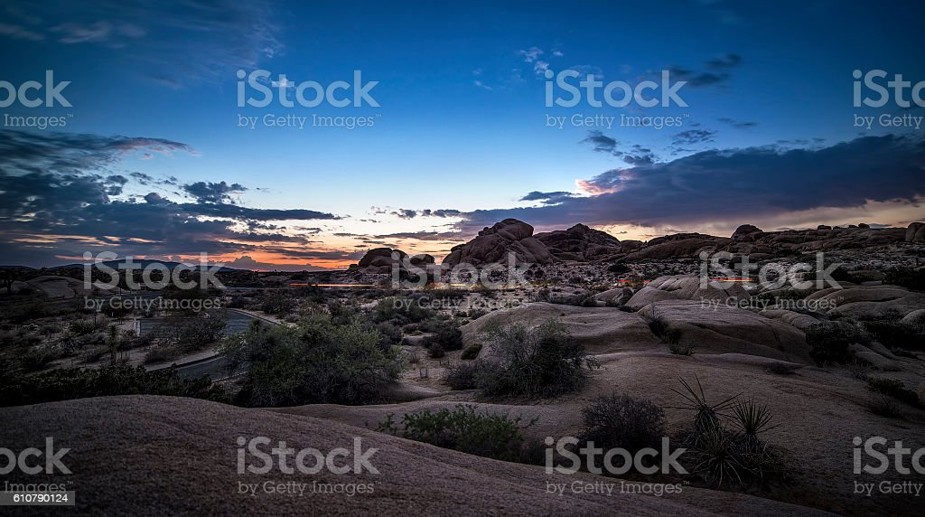 Desert at Night or Golden Hour stock photo