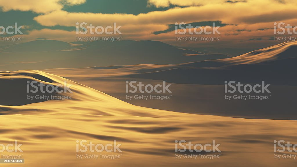 Desert at sunset stock photo