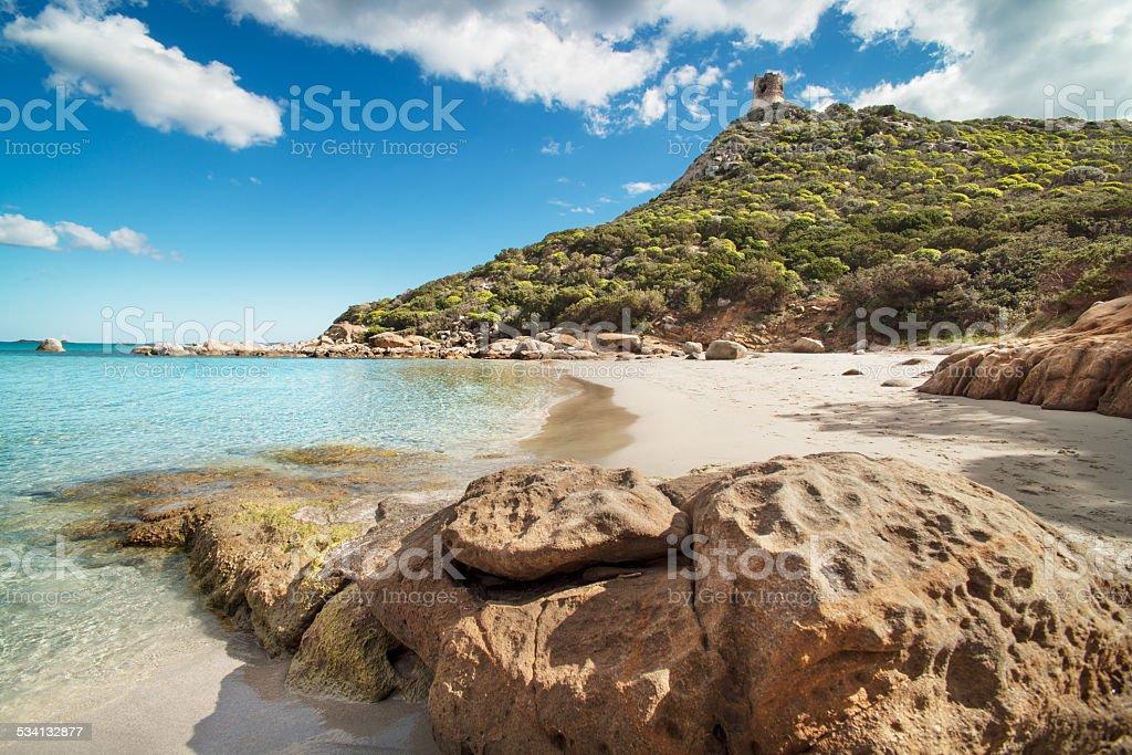 Desert beach with crystal clear sea, stock photo