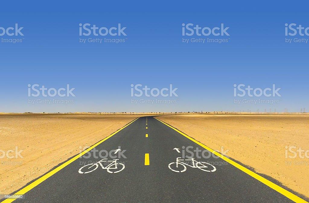 Desert Bicycle Path in Dubai, UAE stock photo