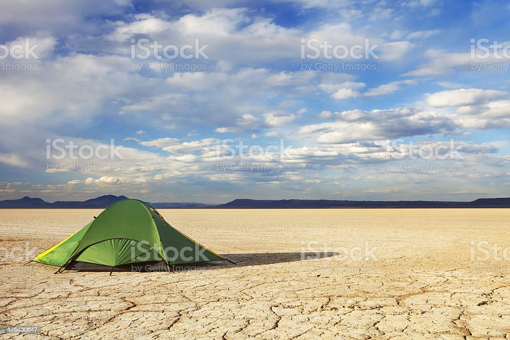 Desert camp in remote Alvord Desert, Oregon, USA royalty-free stock photo