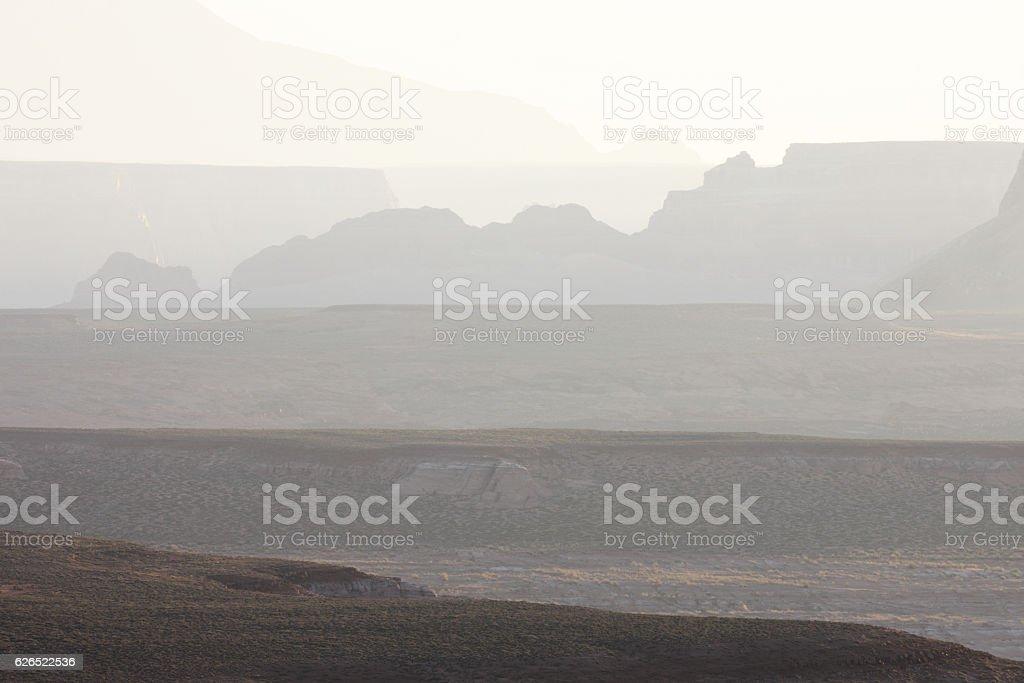 Desert Canyon Mesa Butte Ridge Sunrise Haze stock photo