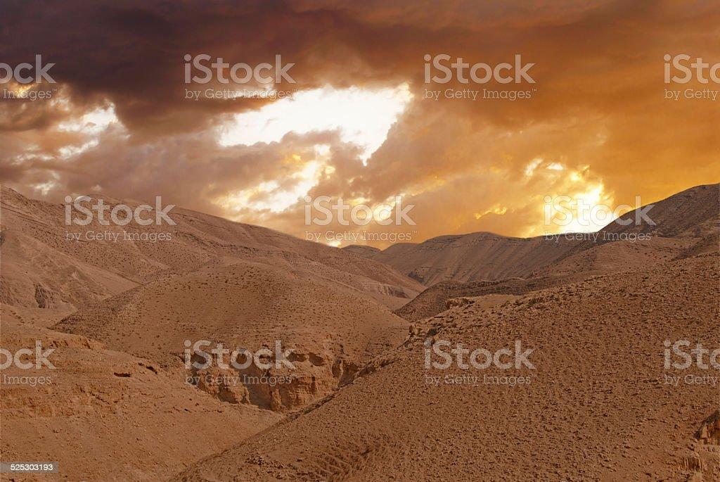 Desert canyon of Wadi Kelt in Israel stock photo
