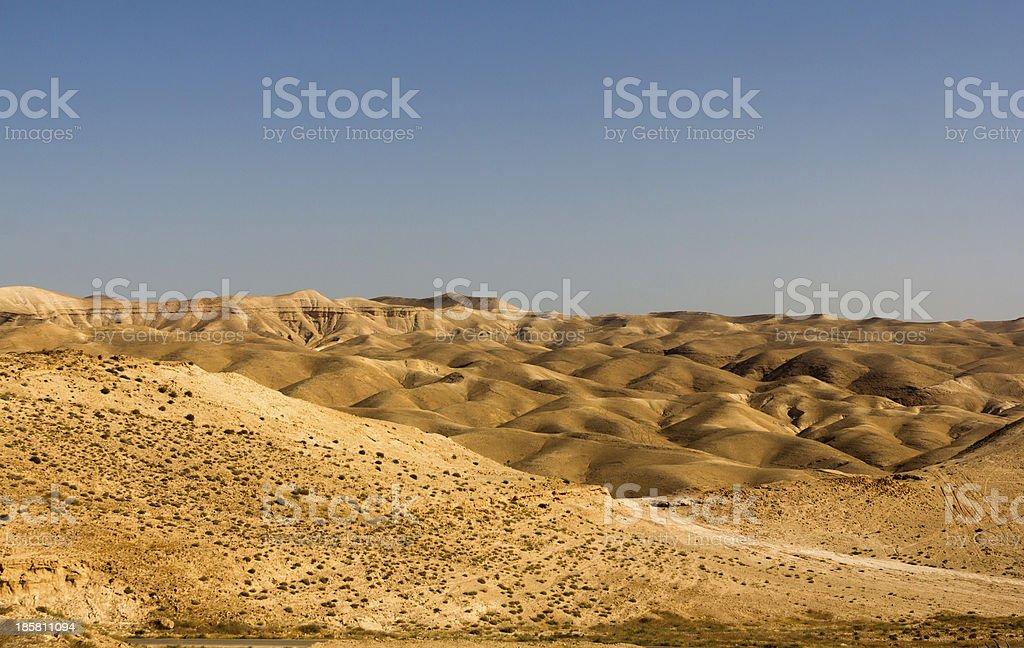 Desert canyon of Wadi Kelt stock photo