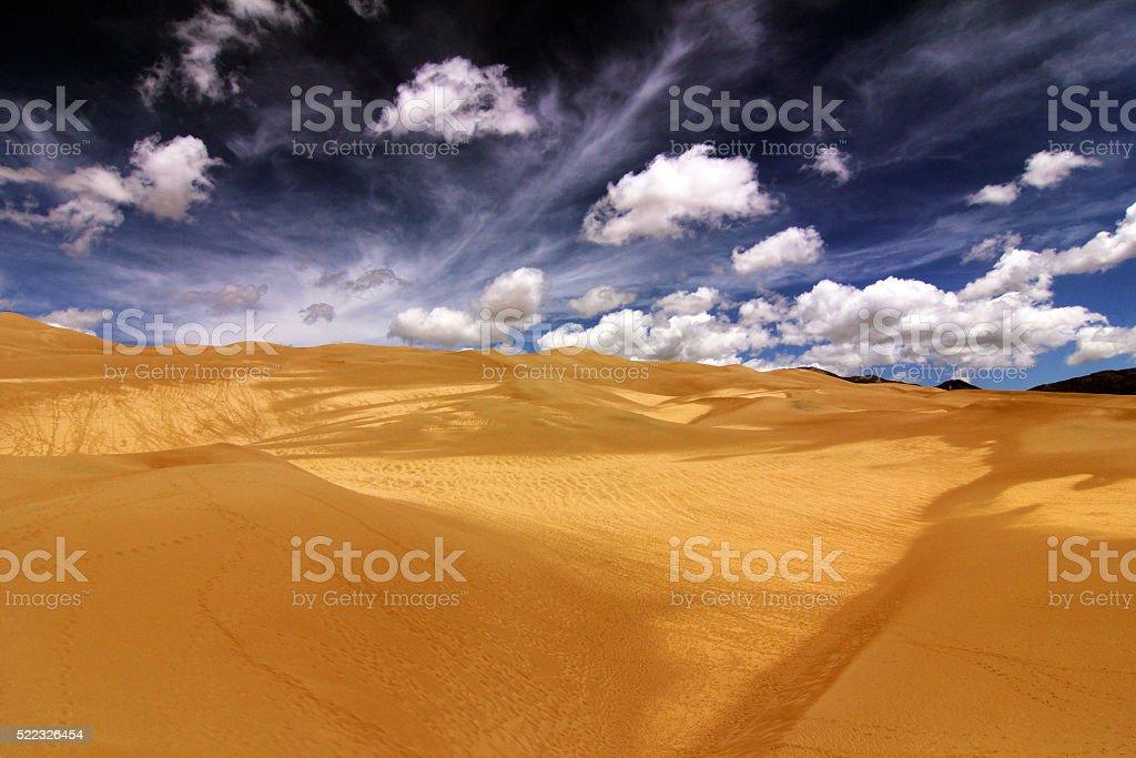 Desert feeling at Colorado´s Grand Sand Dunes National Park stock photo
