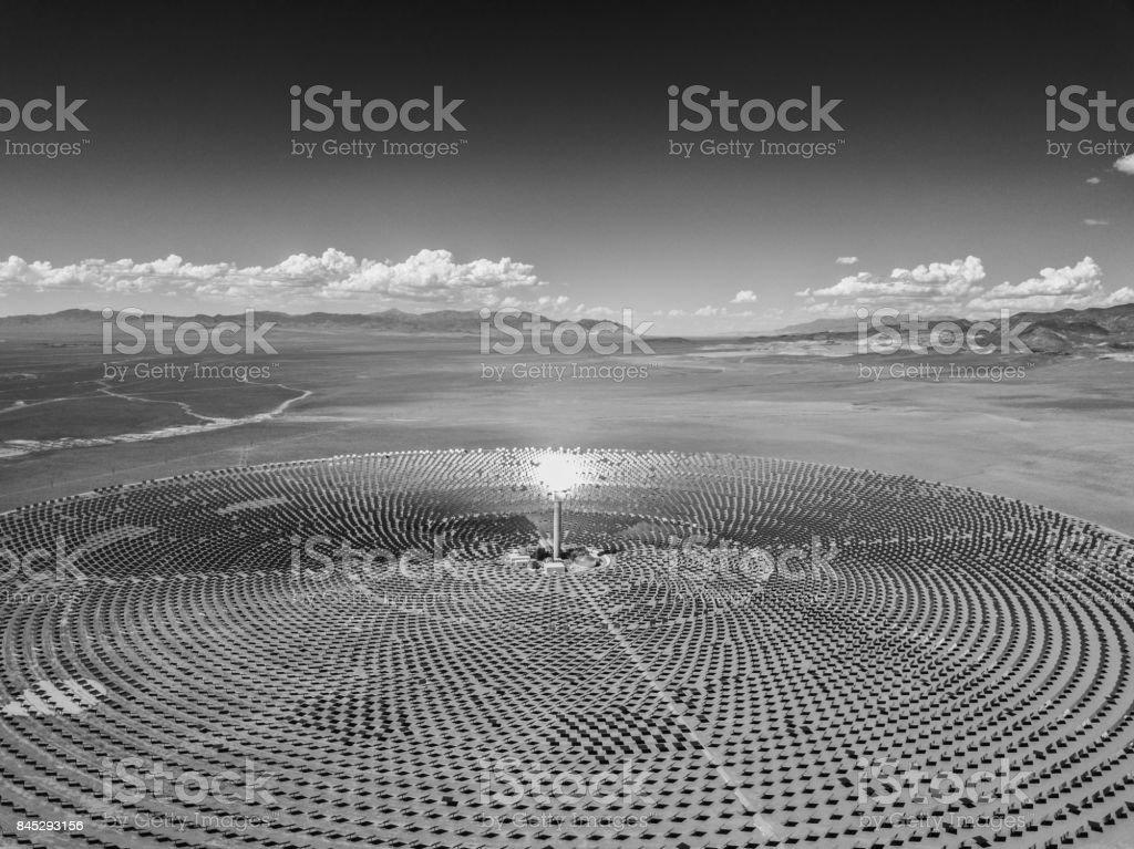 Desert Futuristic Solar Thermal Power BW stock photo