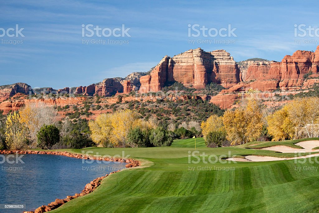 Desert Golf Course in Arizona stock photo