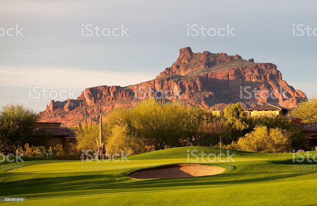 Desert Golf Course in Arizona stock photo